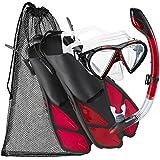 Cressi Silicone Snorkeling Swim Mask Fin Snorkel Set, Adult