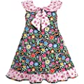 Girls Dress Bow Tie Pink Floral Turn-Down Collar and Trim Size 4-10 NWT