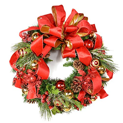 Mistletoe Ribbon Christmas Holiday Front Door Wreath - Unique Seasonal Wreath Design With Ornaments, Pine Cones, Silk Evergreens, And A Bow (24 Inch)