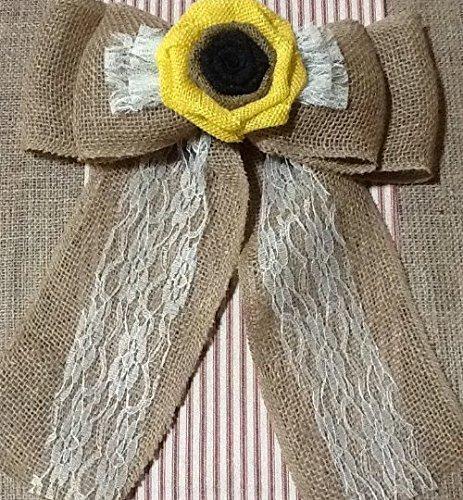 12' Wide Burlap Sunflower Ivory Lace Pew Chair Bow Rustic Wedding Reception Venue Decor Wreath Ornament