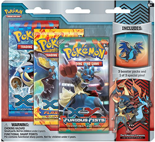 Pokemon XY Flashfire Trading Card Game Booster Pack Pin Set- Mega Charizard X