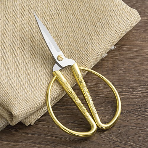 BIHRTC Dragon Phoenix Auspicious Patterns Gilded Sewing Scissors Stainless Steel Vintage Tailor Scissors for Embroidery, Sewing, Craft, Art Work & Everyday Use 2
