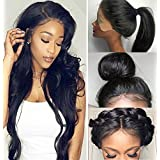 Fyonas Hair Natural Looking Lace Front Wigs Half Hand Tied Full Wigs for Women Heat Resistant Synthetic Fiber Natural Straight Hair Fashion Guleless Wig (24 Inch,#1B Color) (Color: Lace Front Wigs,#1b Color, Tamaño: 24 inch)