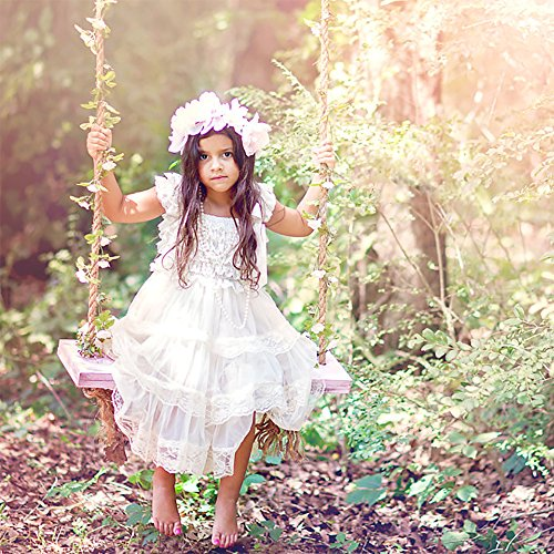 CVERRE lace flower rustic Burlap girl baby country wedding flower dress (WH,M)