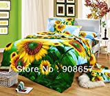yellow sun flower prints bed sets cotton oil painting pattern 3D bedding girls duvet covers 4pc for full/queen comforter quilt - It is for one colour - Per pc / set