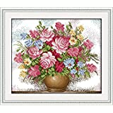 Full Range of Embroidery Starter Kits Stamped Cross Stitch Kits Beginners for DIY Embroidery with 40 Pattern Designs - Pink Roses (Color: Pink rose)