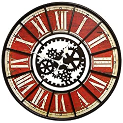 Large Wall Clock with Decorative Gear Look Red 32 Quartz movement