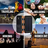 Solar-Charger-10000mAh-Solar-Power-Bank-Portable-Battery-Pack-Cellphone-Charger-with-2-LED-Flashlights-Solar-Panel-with-Compass-and-Carabiner-for-IOS-and-Android-CellphonesOrange