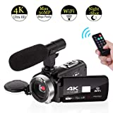 4K Camcorder Video Camera WiFi Camcorders with Microphone Digital Camera Full HD 30.0MP 3.0 inch Touch Screen with IR Night Vision 16X Digital Zoom (Color: V4A)