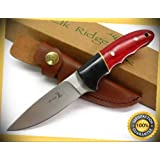 Grooved Woodgrain Drop Point Hunter Hunting Sharp Knife with Sheath 029 perfect for outdoor camping hunting (Tamaño: Medium)