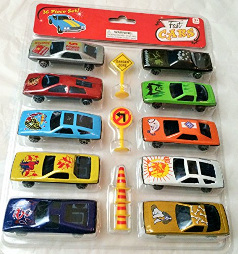 Fast Cars 16 Piece Set Including Street Signs