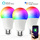 Novostella Smart Light Bulb, RGBCW Wi-Fi LED Bulb A19[7W 600LM] Dimmable Multicolored Lights, No Hub Required, Works with Amazon Alexa and Google Home, 60W Equivalent (3 Pack) (Color: Multi-colored, Tamaño: A19 - 3 Pack)