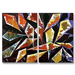 Neron Art - Handpainted Abstract Oil Painting on Gallery Wrapped Canvas Group of 2 pieces - Nice 16X12 inches