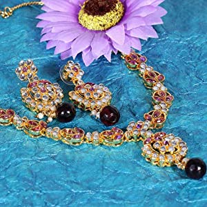 Deccan Pearls Women Necklace and Sets BIG 46 Gold White