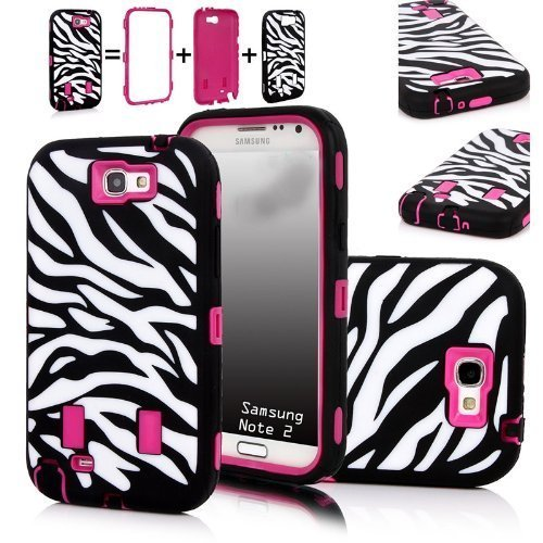 XYUN Zebra Stripes Defender Hard Case Camo Cover for Samsung Galaxy N7100 Note 2 Ii With a XYUN Mobile Phone Cleaner Dust Plug Gift Rose