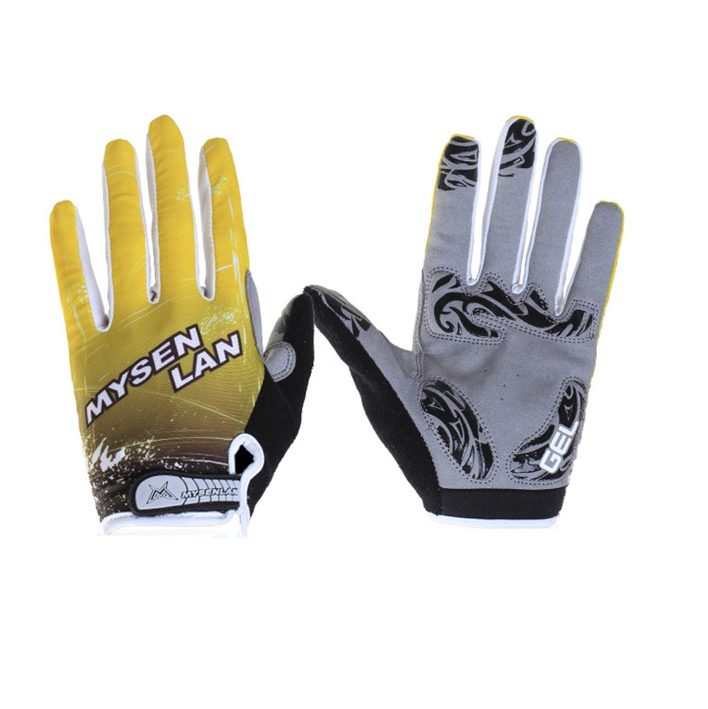 MYSENLAN Unisex Full Finger Cycling Glove High Breathable Outdoor MTB Road Bicycle Long Gloves Yellow Size Large