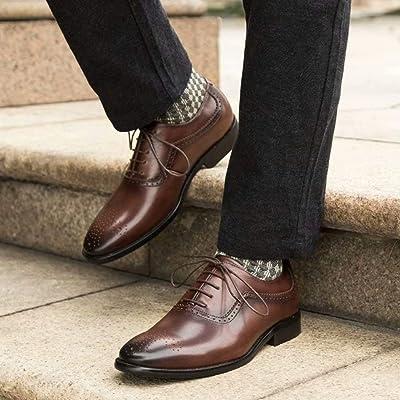 [ZanYeing] 革靴 本革 メンズ カジュアル ビジネスシューズ レースアップ ウォーキングシューズ 内羽根 ウイングチップ オックスフォードシューズ 軽量 快適 通気 紳士靴 メダリオン
