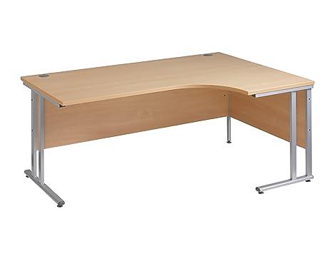 Bureau d'angle pour droitier ergonomique 1600 mm-Couleur :  imitation hêtre