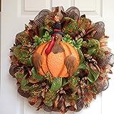 Thanksgiving Turkey Pilgrim Welcome Wreath Handmade Deco Mesh