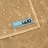 Utility Waxed Canvas Apron Durable with PU Leather Strap and Reinforced Stitching - Heavy-Duty Waterproof Apron (Tan)