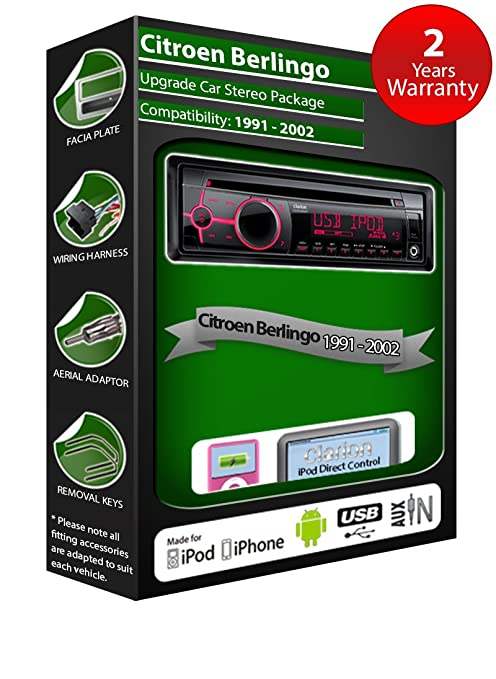 Citroen Berlingo de lecteur CD et stéréo de voiture radio Clarion jeu USB pour iPod, iPhone, Android