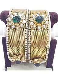 Bangles Kundan Poki Jade Pearl Gold Look High Quality One Gram Gold Plated Handmade Real Bangles 4621
