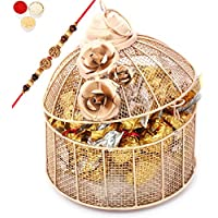 Rakhi Chocolates-Golden Cage With Roasted Almond Chocolates, 500 G