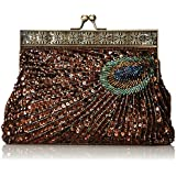 MG Collection Rayna Beaded Sequin Peacock Evening Clutch