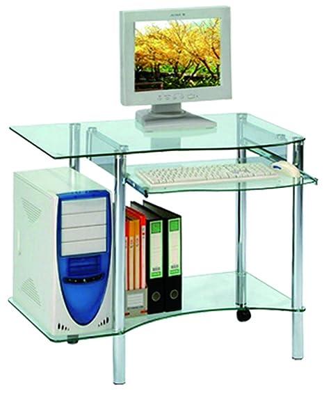 Bureau informatique en verre avec tablette coulissante, H740 x L890 x P540 mm -PEGANE-