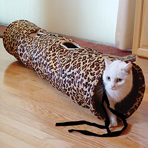 Cat Fun Collapsible Tunnel - Leopard Print Crinkly Kitten Or Small Pet Toy front-463672