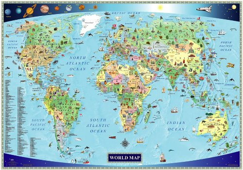 Illustrated Map of the World for Kids (Children's World Map) (World Wall Map For Kids compare prices)