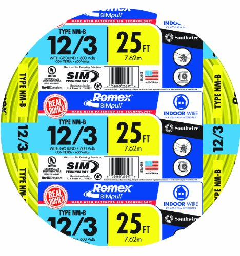 Southwire 63947621 12/3Wg Nmb Wire 25-Foot