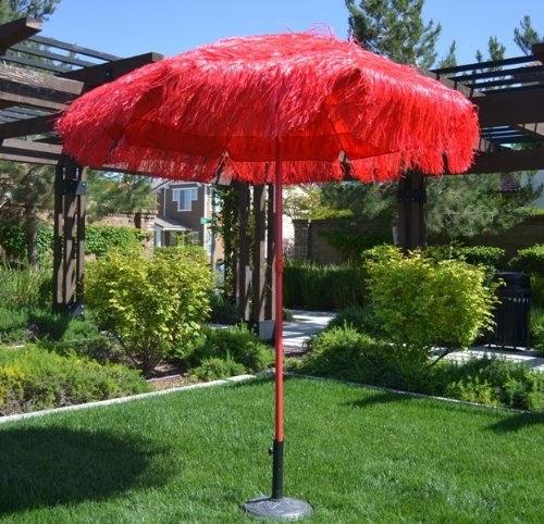 6.5' Thatched Hula Tilt Beach Market Umbrella - Red Color