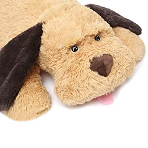 MaoGoLan Giant Stuffed Puppy Dog Big Plush Extra Large Stuffed Animals Soft Plush Dog Pillow Big Plush Toy for Girls Kids 31 inch (Color: Brown, Tamaño: 31 inch)