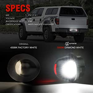 Superduty Ranger Explorer Bronco Excursion Expedition Pickup Truck Xprite White LED License Plate Light Assembly with Red Running Lamp Replacement Tag Lights for 1990-2014 Ford F-150 F-250 F-350