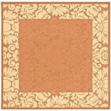 """Safavieh Courtyard Collection CY2727-3202 Terracotta and Natural Square Area Rug, 6 feet 7 inches by 6 feet 7 inches Square (6'7"""" x 6'7"""" Square)"""