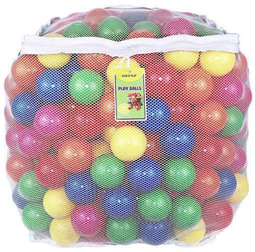 Click N` Play Value Pack of 400 Phthalate Free BPA Free Crush Proof Plastic Ball, Pit Balls - 6 Bright Colors in Reusable and Durable Storage Mesh Bag with Zipper