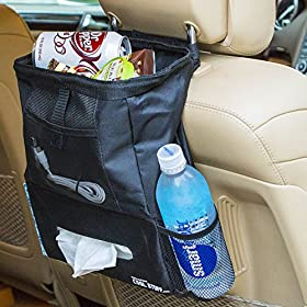 WeHaveCoolStuff All-in-One Deluxe Car Trash Bag & Organizer - Leak Resistant - With Front Mesh Pocket, Drink Holder, & Tissue Holder