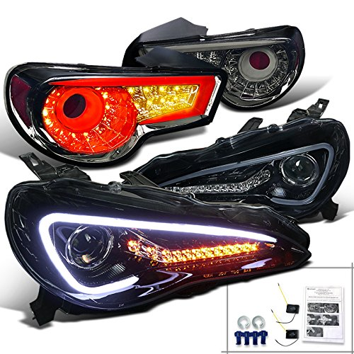 Fit 06-11 Civic 4DR Crystal Chrome Headlights+Black Rear Tail Lamps