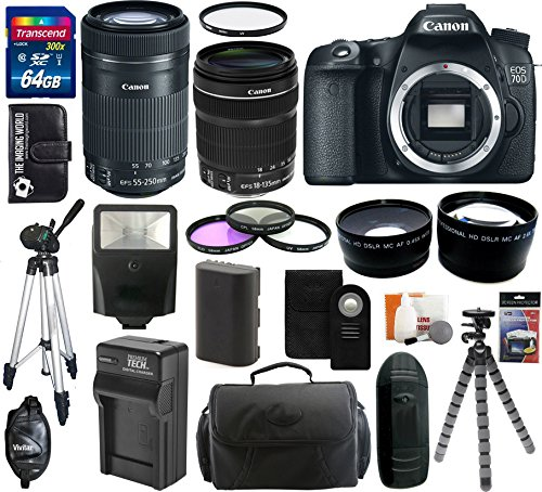 Canon Eos 70D 20.2 Mp Digital Slr Camera Body With Dual Pixel Cmos Af And Ef-S 18-135Mm F/3.5-5.6 Is Stm Kit + Canon Ef-S 55-250Mm F/4.0-5.6 Is Stm Telephoto Zoom Lens + 64Gb Card + Flash + Tripod + Battery And Charger + Case + Filter Kit + Hand Grip + Sh
