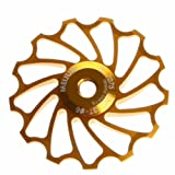 Sannysis 13T MTB Ceramic Bearing Jockey Wheel Pulley Road Bike Bicycle Rear Derailleur (Golden) (Color: Golden, Tamaño: 13 T)
