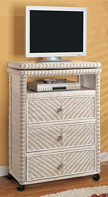 Tall TV Stand in White Wash