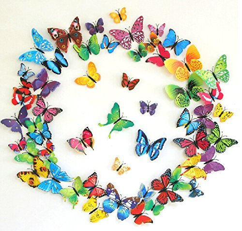 Amaonm® 60pcs 5 Packages 5 Colors 3d Butterfly Wall Stickers Murals Removable DIY Butterflies Wall Decals Wall Art Decor for Kids Babys Boys and Girls Bedroom Living Room Office Classroom Playroom