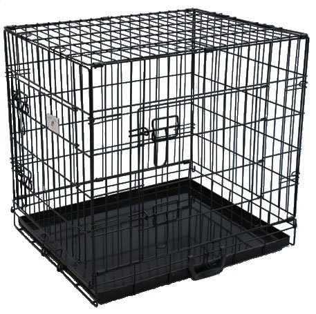 "Best Pet Black 24"" Double-Door Suitcase Style Folding Metal Dog Crate With Metal Pan - 24""(L) X 20""(W) X 23""(H)"
