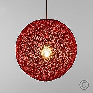Modern Red Lattice Wicker Rattan Globe Ball Style Ceiling Pendant Light Lampshade from MiniSun