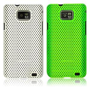 Weiß & Grün Netz / Mesh Hartschale Hardcase Backcover Hülle Schutzhülle Tasche Case für Samsung Galaxy S2 I9100 (2 Stück)