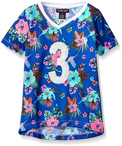 U.S. Polo Assn. Little Girls Hummingbird and Floral Print Mini Mesh Football Shirt, Vintage Blue, 6X Jersey Vintage Polo Shirt