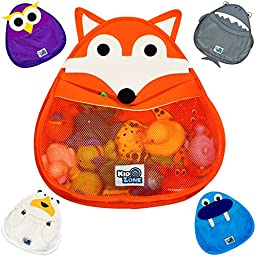 BATH TOY ORGANIZER, Fox - Safe & Mildew-Free - Perfect for Baby Bath Toys - Organizer w/ FREE Suction Cup for Sturdy Bath Toy Storage - Choose from FIVE Different Animals!