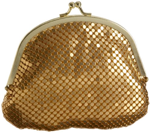 Y & S Mesh Double Coin Purse,Gold,one size