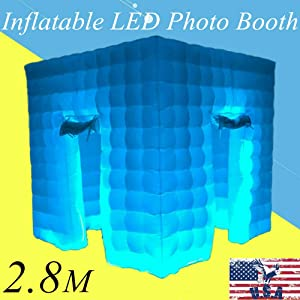 2.8x2.8x2.8M Inflatable Air Tent Photo Booth LED Lighting Tent Portable Remote Control 2 Doors Wedding Birthday Party Christmas USA Stock